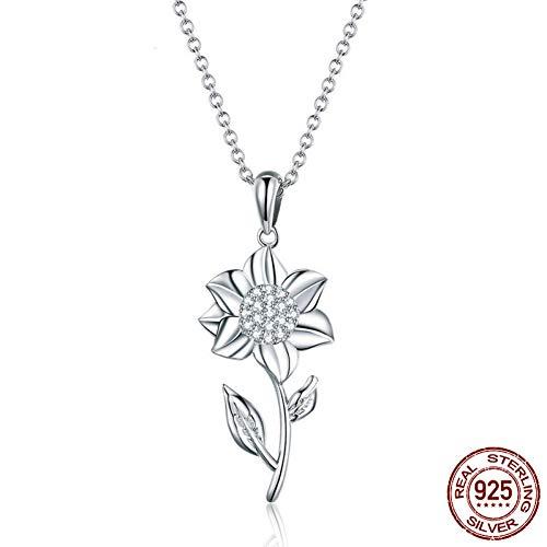 Burenqi Hete Echte 925 Sterling Zilver Zonnebloem Hanger Kettingen Voor Vrouwen Elegante Luxe Sieraden Accessoires