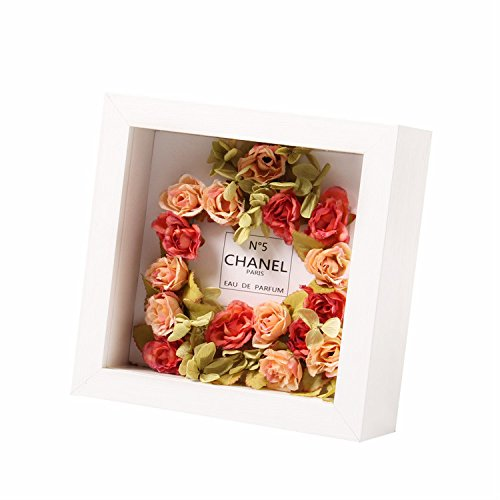 Ray & Chow White 8 x 8 inches 3D Deep Shadow Box Photo Frame For Flowers, Art Crafts, etc. - Glass Window- Solid Wood - Interior Depth:1.2 inch- Table Top Display or Wall Mounted