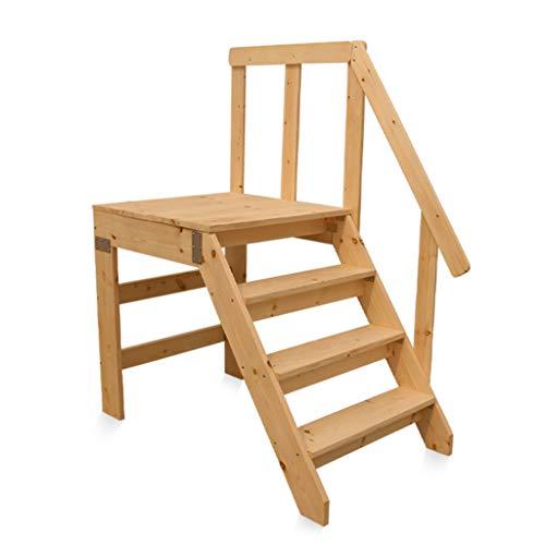 ZRXJQ-Klappstufen Haushaltsstiegenstuhl Holztreppe mit Handlauf 4 Trittleiter Hausgarten Stabile breite Trittleiter, max. 300kg Kapazität