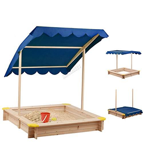 BIRCHTREE Kids Outdoor Wooden Sandpit Sandbox 120 x 120CM with Height...