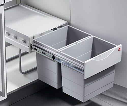 Raumspar Tandem 2x18L Abfalleimer Küchenabfalleimer Bodenmontage Mülleimer *43420