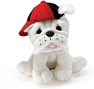 Burton & Burton Plush Eugene - White Bulldog with Baseball Cap
