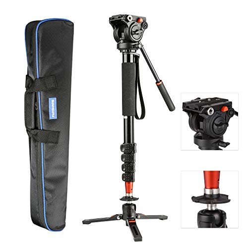 FANSHANG 73' inch Video Camera Monopod, Professional Aluminum for DSLR/SLR Mirrorless Cameras with Removable Tripod Base, Fluid Drag Head Carrying Bag Include