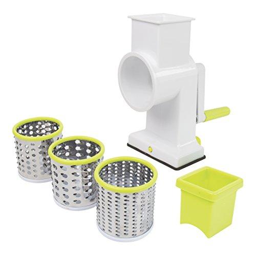 Invero® - Cortador de frutas y verduras, tambor giratorio para queso, rallador de alimentos con 3 cuchillas de acero inoxidable, base de succión – Manija fácil de girar