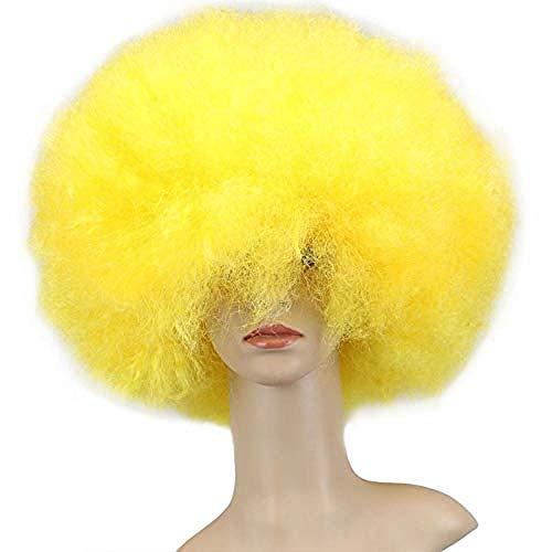 Peluca De Payaso Arcoiris, Peluca Corta Y Rizada Afro Peluca Para Fiesta De Halloween, Navidad, Peluca De Payaso De Cosplay Colorido Amarillo
