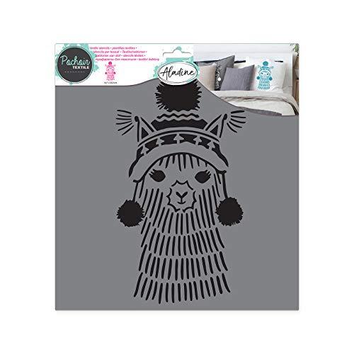 Aladine - Pochoir Textile Géométrique - Décoration sur Tissu - Pour Customiser Toiles, Tee-shirts, Tote Bags - Lavable - 28 x 28 cm - Grand Motif Graphique