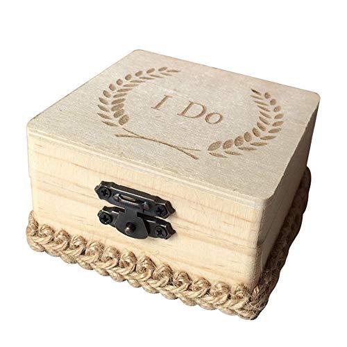 ZHAOOP Impresión de la Caja del Anillo de Bodas de Madera Hago la Caja de Regalo de la joyería del Anillo del Marco del Anillo de Bodas