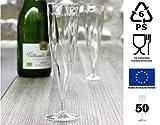 50 Flûtes à Champagne Jetables Monobloc 13cl, plastique polypropylène (transparent)