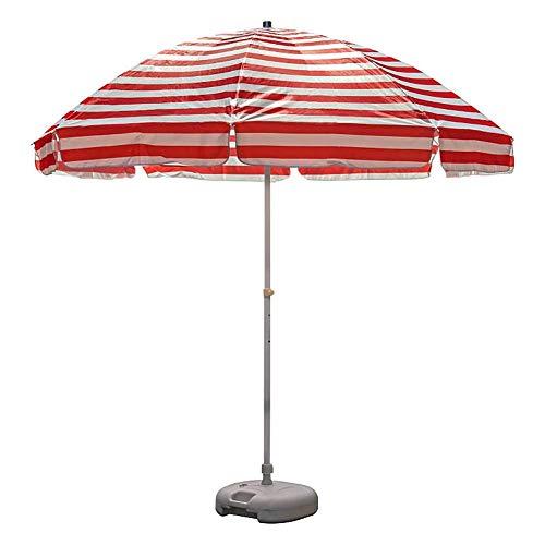 Riyyow Paraguas Parasol 82 pies Playa de Rayas, Paraguas de jardín de Tela Oxford con 8 Costillas de Alambre de Acero, Impermeable y Resistente a la decoloración (Color : Red+White)