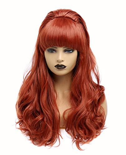 Lange lockige wellenförmige voller Kopf Halloween Kupfer rote Perücken für Frauen Cosplay Kostüm Party Perücke mit Pony für 70er Jahre (EINWEG) (Kupferrot)