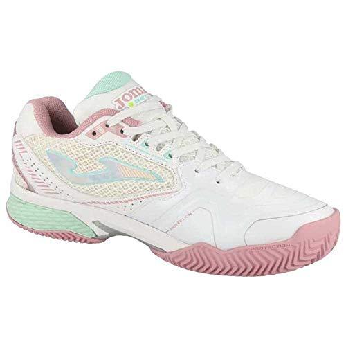 Joma Set Lady, Zapatos de Tenis Mujer, Blanco-Rosa, 38 EU