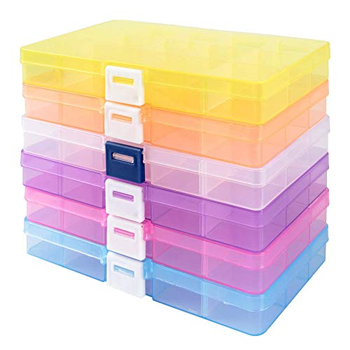 Moligin - Caja de almacenamiento de joyas con compartimentos extraíbles, 10 rejillas de plástico para organizar pendientes con compartimentos extraíbles, 6 unidades