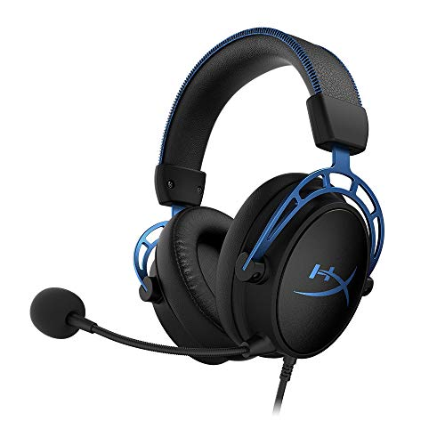 HyperX Cloud Alpha S - PC Gaming Headset, 7.1 Surround Sound, Adjustable Bass, Dual Chamber Drivers, Chat Mixer, Breathable Leatherette, Memory Foam, and Noise Cancelling Microphone - Blue