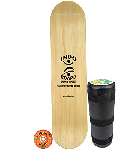 INDO BOARD Kicktail Pro - Natural - Advanced Balance Board for Surfers, Skaters, Wakesurfers, Snowboarders - 39' Long Deck with 6.5' Roller
