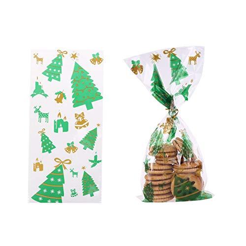 Tancyechy 50 Piezas Bolsas de celofán navideñas Bolsa Lazos para Fiestas de Vacaciones Bolsas de celofán 4#