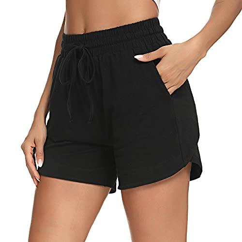 Irevial Pantalones Cortos para Mujer Verano,Pantalón Deporte de Algodon Elástica de Cintura Alta con cordón y Bolsillos