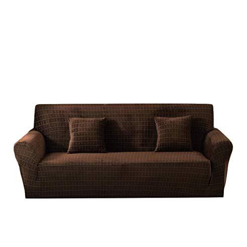 HC&WT Strecken Alles Inklusive Sofabezug, Einfacher Einfarbiger Karierter Plüsch Sofa-Abdeckung Couch Cover Wohnzimmer Anti-Rutsch-Maschine Waschbar Haustier-Couch-Abdeckung (C,Sessel 90~140cm)