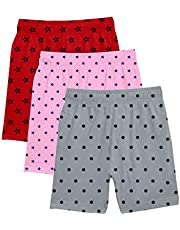 fasla Girl's Cotton Printed multicolured Cycling Shorts(-3Red,Grey,Pink)