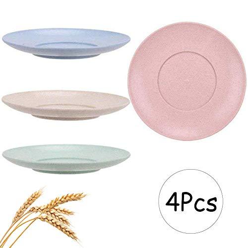 INTVN 4 STÜCKE Leichte Weizenstroh-Teller,Umweltfreundlich Teller,Camping-Geschirr aus Weizenstroh,Speiseteller,unzerbrechliche Kuchenteller Frühstücksteller,Spülmaschine Und Mikrowelle Safe