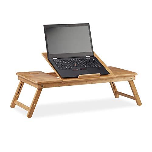 Relaxdays, Natur Laptoptisch Bambus XL, ideale Belüftung, höhenverstellbar, 5 Neigungswinkel, Lapdesk mit Schubfach, Standard