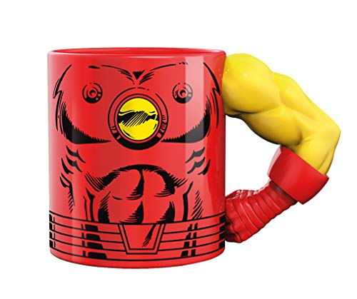 Exquisite Gaming Meta Merch Taza de café y té, 12 Ounces, Cerámica, Rojo, amarillo, 340 g