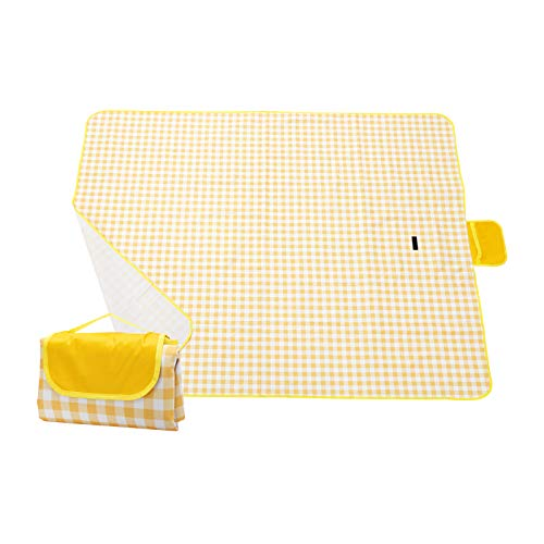 """ARTISHION Outdoor Picnic Blanket Foldable Picnic Mat Waterproof Sandproof 3-Layer Extra Large for Family Travel Beach Camping Hiking 80""""x60"""" / 80""""x80"""" (Yellow, 80"""" x 60"""")"""