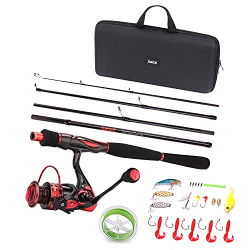 ZACX Fishing Rod and Reel Combos with Line Lures Hooks Jigs and Premium Portable Case for Saltwater/Freshwater Fishing Gear Equipment, Travel Fishing Rod-Fishing Gifts for Men