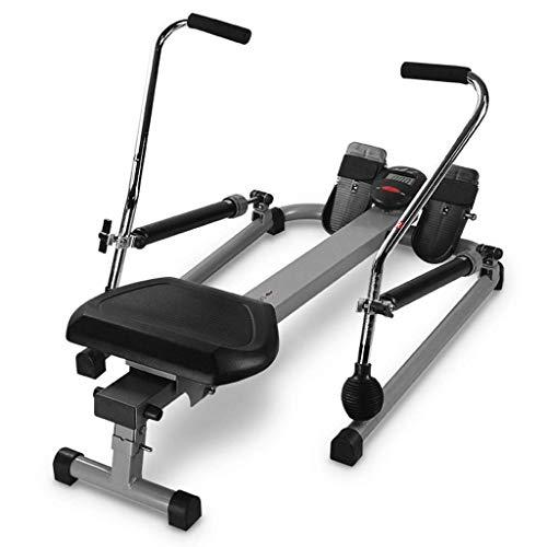XBSLJ Rudergeräte klappbar Rudergerät für den Hausgebrauch Faltbar, 12-stufig Einstellbarer Widerstand, hydraulischer Doppelpaddel-Rudertrainer, leise kleine Fitnessgeräte