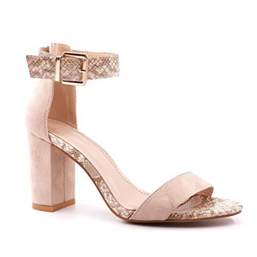 Angkorly - Chaussure Mode Escarpin Sandale Chic élégant Tendance Femme Effet Peau de Serpent Python lanière Boucle Talon Haut Bloc 9 CM - Beige 5 - FR385 T 37