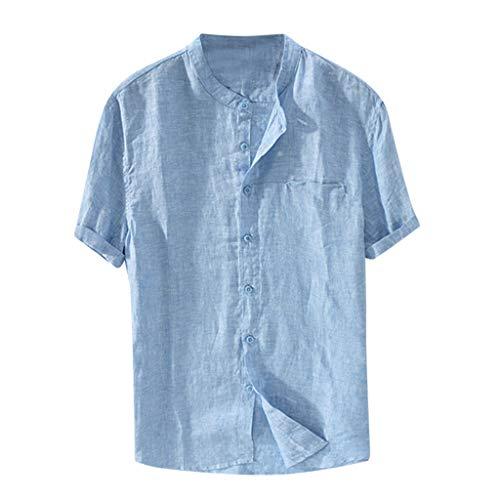Camisas Europeas y Americanas de los Hombres de Manga Corta Suelta de Verano sección Delgada de algodón Transpirable y Lino Camisa de Cuello Alto Camisa Casual de Playa para Hombres