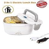 Nifogo Lunch Box Elettrico 2 in 1 Contenitore Elettrico Portavivande Elettrico Scaldavivande per L'Ufficio, casa, Scuola 12V e 220V 40W (Grigio)