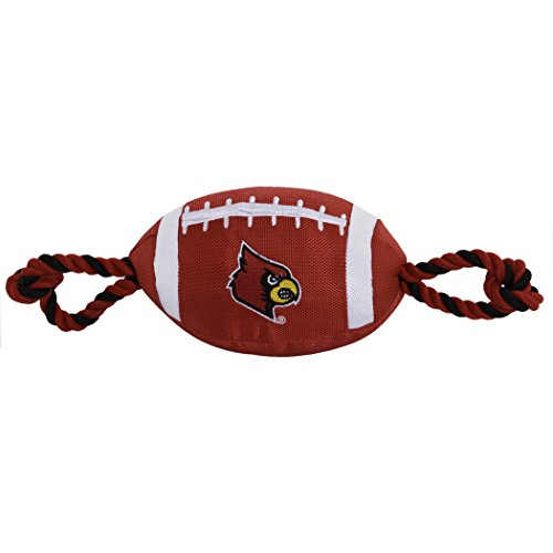 Pets First NCAA Louisville Cardinals Football Dog Toy, Tough Quality Nylon Materials, Strong Pull Ropes, Inner Squeaker, Collegiate Team Color