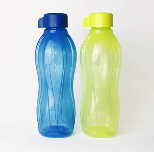 EcoEasy Tupperware Trinkflasche 2X 750ml Blau + Limette mit Schraubverschluss + Geschenk 1-2 Teile Zufallswahl