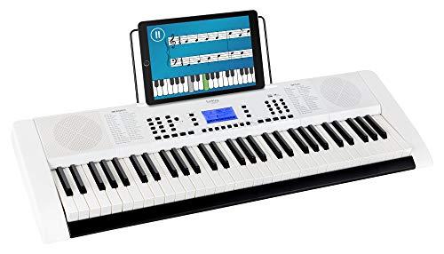 Funkey 61 Edition Pro Keyboard (128 Sounds, 128 Rhythmen, 10 Demo Songs, LCD Display mit detaillierter Anzeige, MP3-/USB-Port, Netzteil, Notenständer) weiß