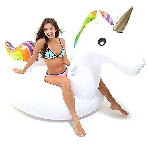 Tongfushop Flotador de Unicornio Gigante Inflable, Hinchable Unicornio Piscina Conveniente para la Fiesta Piscina de Playa de Verano Adultos y Niños Utilización