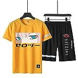 Naruto Uchiha Itachi - Conjunto de camisas y pantalones cortos para hombre y niños, Naruto anime gráfico para niños - amarillo - Large