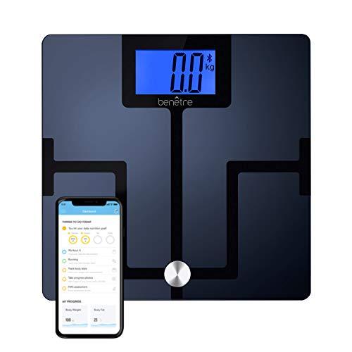 Benetre Báscula Digital Inteligente de 8 Indicadores de Medición, Conexión Bluetooth y Aplicaciones iOS o Android, Apagado Automático.