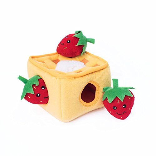 ZippyPaws - Food Buddies Burrow, Interactive Squeaky Hide and Seek Plush Dog Toy - Strawberry Waffles