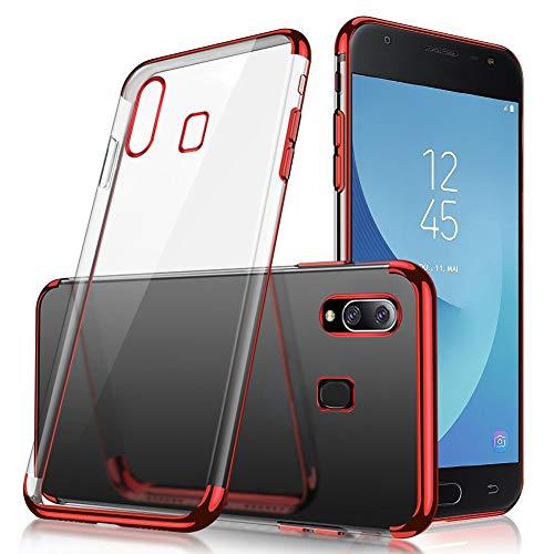 JAWSEU Compatible avec Samsung Galaxy A20/A30 Silicone Transparente, Mode Placage Cristal Clair Souple Gel TPU Housse de Protection Ultra Mince Protection Complète Antichoc Bumper Case,Rouge