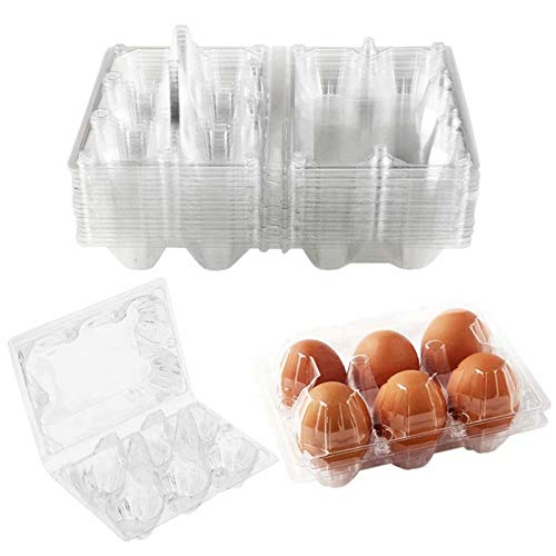 25 Pack Clear Plastic Egg Cartons 6 Grids Plastic Egg Trays for Refrigerator Storage Family Chicken Farm Camping Picnic Market Travel