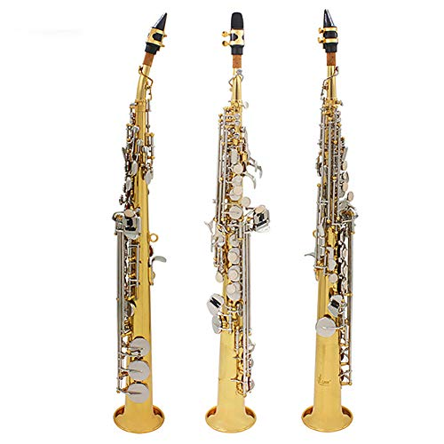 BLKykll Sopran-Saxophon Saxophon Bb Messing Lackiert Körper Und Schlüssel Sopransaxophon Aus Messing, Gerade, Holzblasinstrument,Komplettes Zubehör