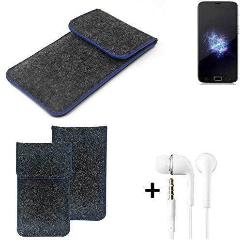 K-S-Trade Filz Schutz Hülle Für Doogee X9 Pro Schutzhülle Filztasche Pouch Tasche Handyhülle Filzhülle Dunkelgrau, Blauer Rand Rand + Kopfhörer