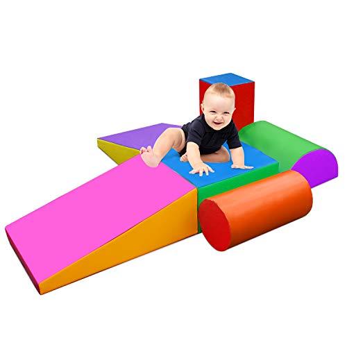 UFLIZOGH Bloques de construcción blanda para niños, bloques de espuma grandes, 6 piezas XL, bloques de construcción gigantes, juguetes para escalar y gatear para preescolar, bebés y niños (morado)