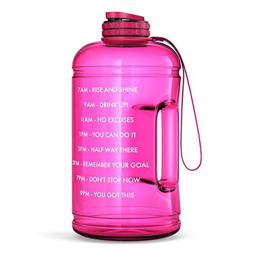 Motivational Water Bottle with Time Marker & Hourly Hydration Measurements – BPA Free & Non Toxic Large Sports Fitness Bottle Jug with Wide Mouth – Ensure You Drink Enough Water (Pink)