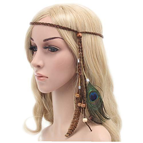 Ssowun Bandeau Cheveux Hippie Femme Bandeau Plume Indien Headpiece Bandeau de Cheveux Perle Gland pour Photographie Coiffure Cosplay