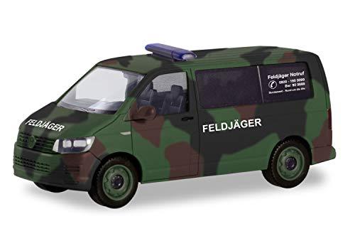 """herpa 700719 Volkswagen VW T6 Bus Flecktarn """"Bundeswehr/Feldjäger"""" Flugzeug/Wings in Miniatur zum Basteln Sammeln und als Geschenk, grün, tarnfarbig"""