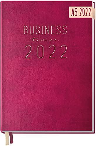 Chäff Business-Timer 2022 A5 [Berry] 1 Woche 2 Seiten | Terminplaner, Wochenplaner, Wochenkalender, Organizer, Terminkalender für perfektes Zeitmanagement | nachhaltig & klimaneutral
