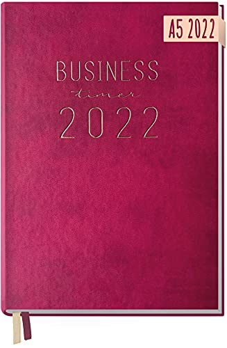 Chäff Business-Timer 2022 A5 [Berry] 1 Woche 2 Seiten   Terminplaner, Wochenplaner, Wochenkalender, Organizer, Terminkalender für perfektes Zeitmanagement   nachhaltig & klimaneutral