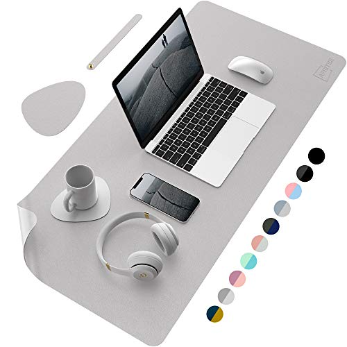 """AFRITEE Desk Pad Protector Mat - Dual Side PU Leather Desk Mat Large Mouse Pad Waterproof Desk Organizers Office Home Table Decor Gaming Writing Mat Smooth (Gray/Silver, 35.4"""" x 17"""")"""