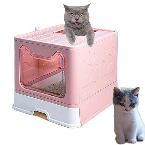 Meipire - Lettiera pieghevole per gatti, ingresso anteriore (con pannello porta) e uscita superiore, super grande, per gatti con vassoi estraibili+paletta per lettiera (rosa)